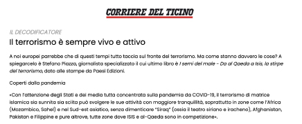 Intervista sul CdT 09/01/21